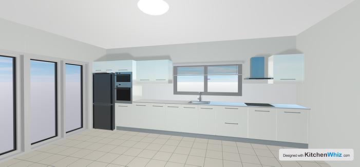 Kitchen design white glossy